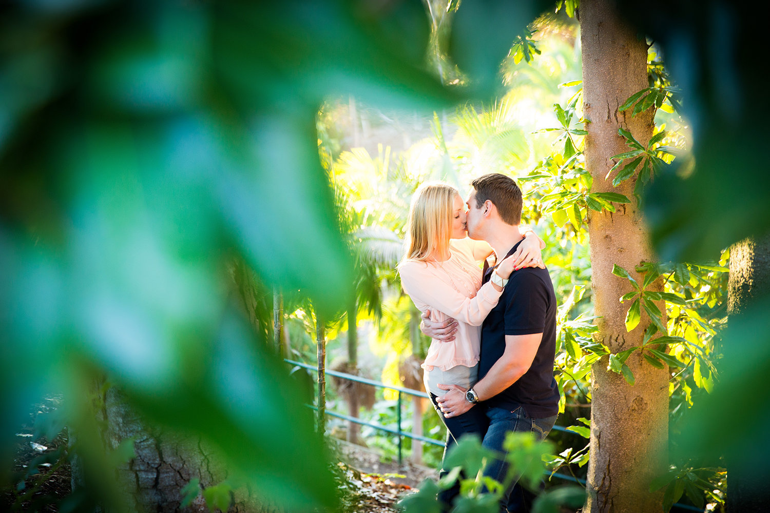 Balboa Park engagement photos beautiful bridge kissing