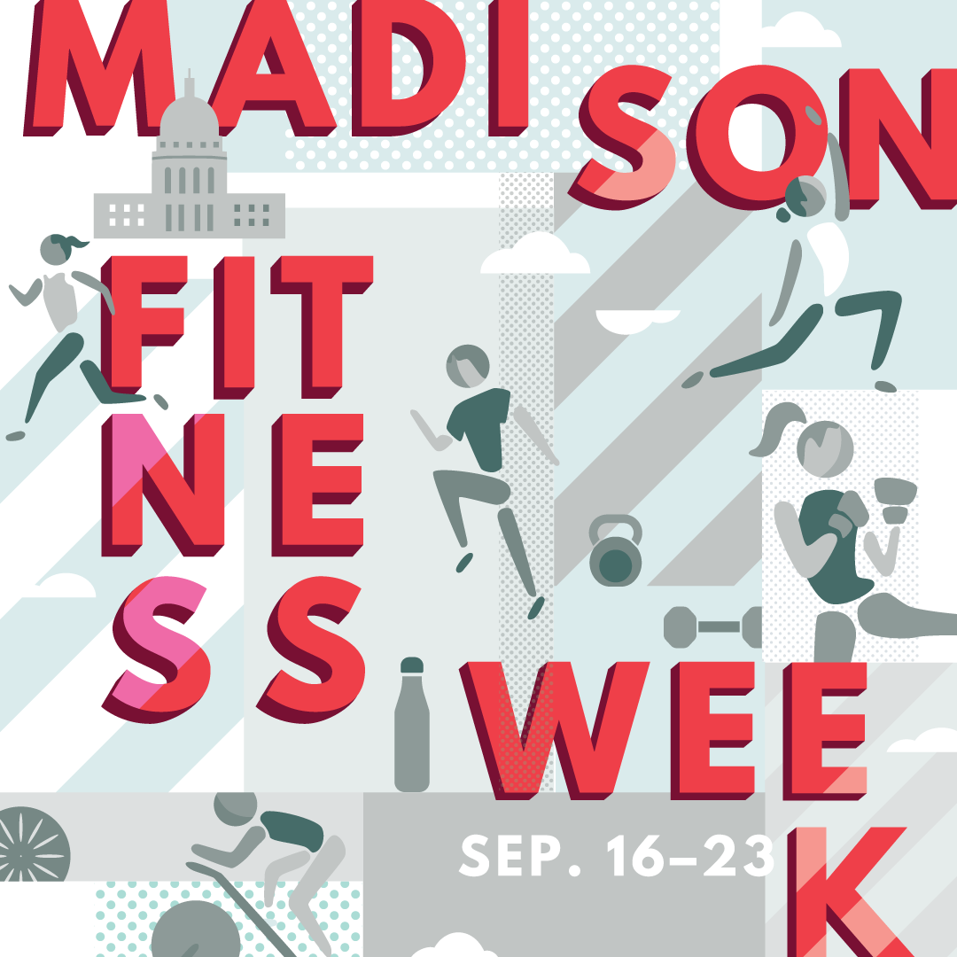 Event branding and illustration for Fitness Week by Christie Evenson Design Co.