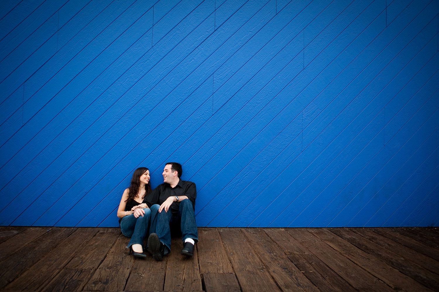 Downtown San Diego engagement photos funky urban shot