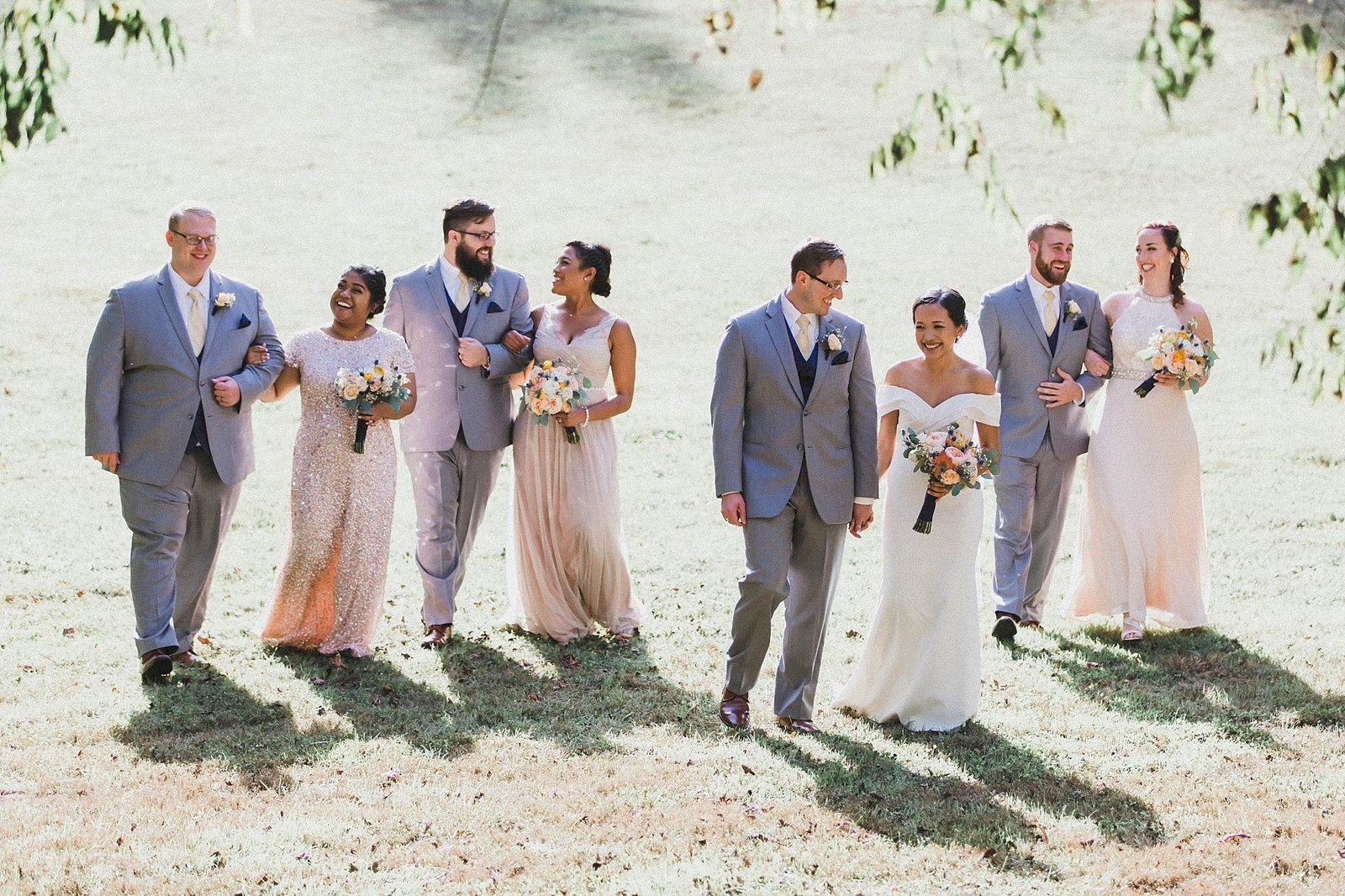 M Harris Studios_Braehead Manor_VA Wedding Photographer_pink grey wedding party