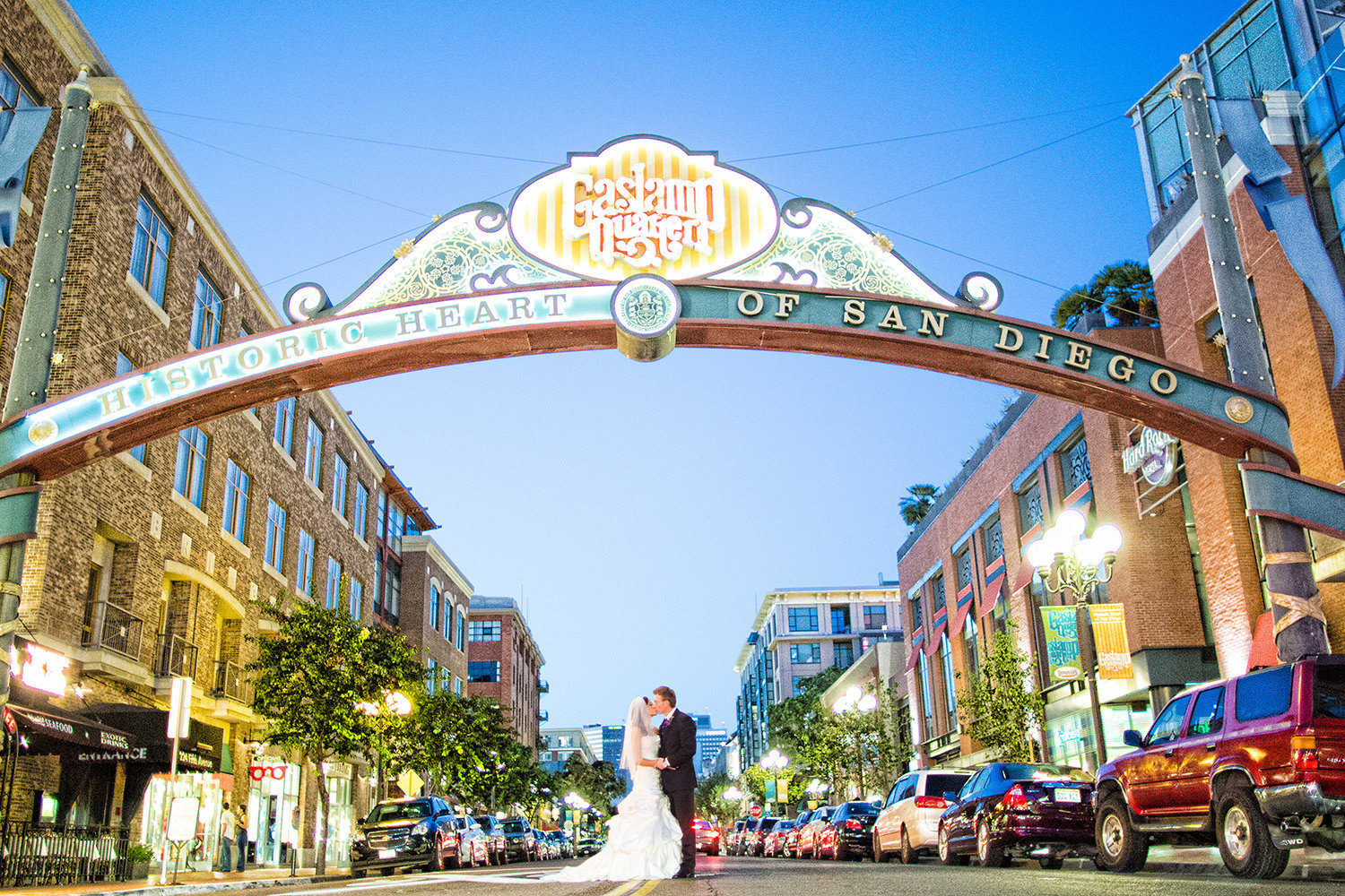 Gaslamp sign wedding portrait