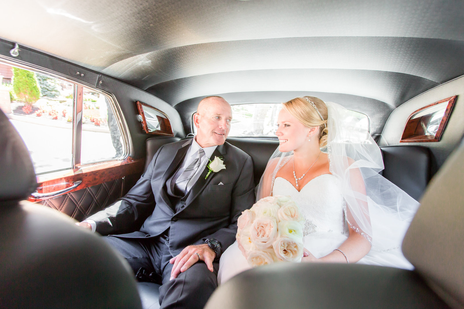 Bride and her father in Bentley