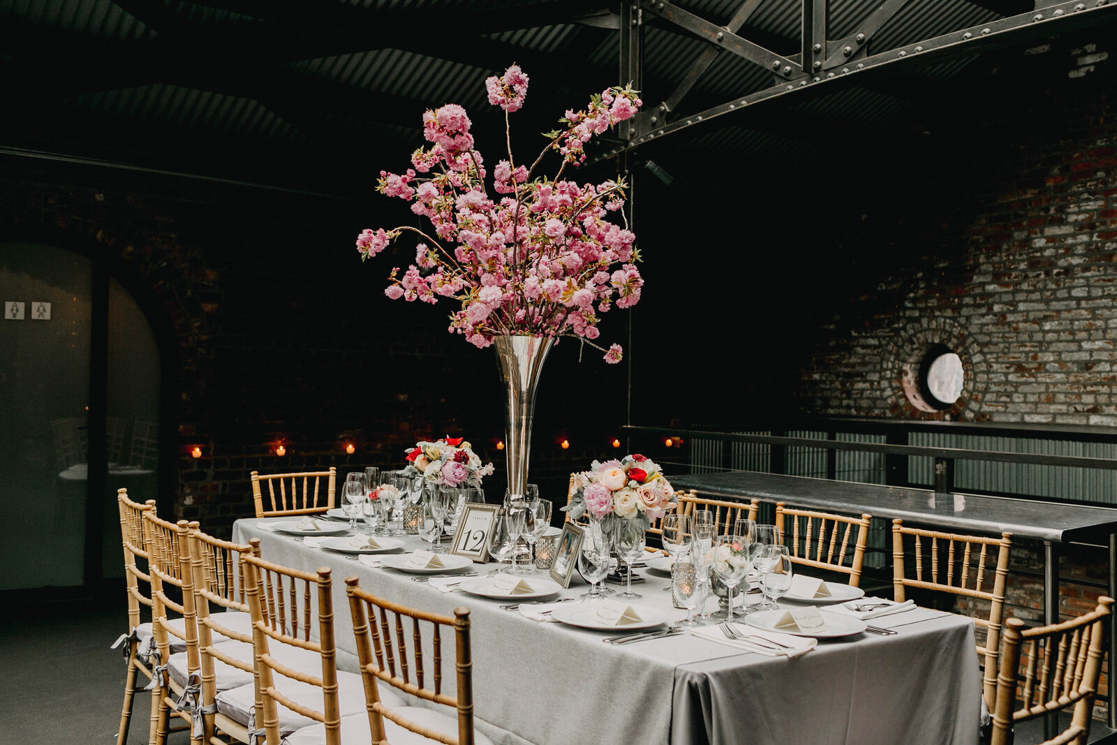 wedding tablescape industrial venue