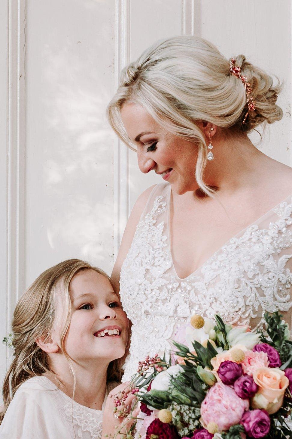 Bride Rachael wearing Infinity Roses Custom Rose Gold 3