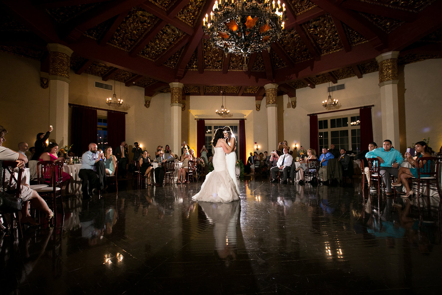First Dance in an ornate and moody reception room | The El Cortez in San Diego