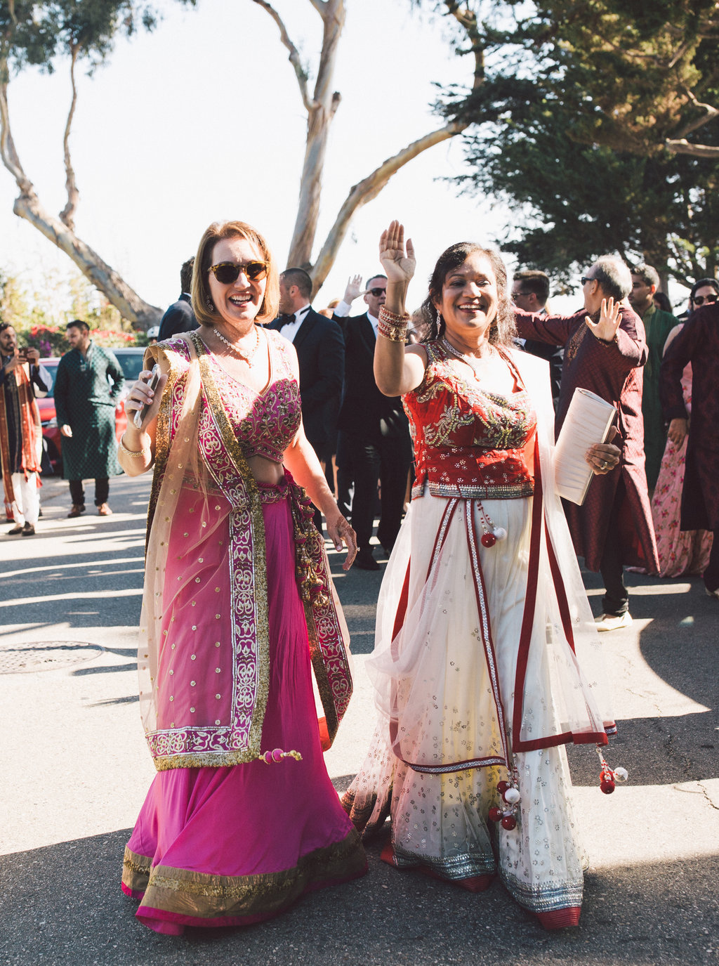 Bharat parade at blended Indian and Christian tradition wedding at Butterfly Lane Estate in Montecito