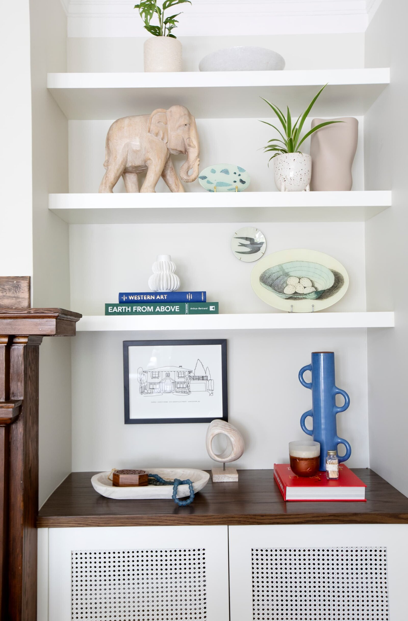 Granville Street l Living-TV Room l Detail of Custom Built-in Shelves with Plants and Accessories