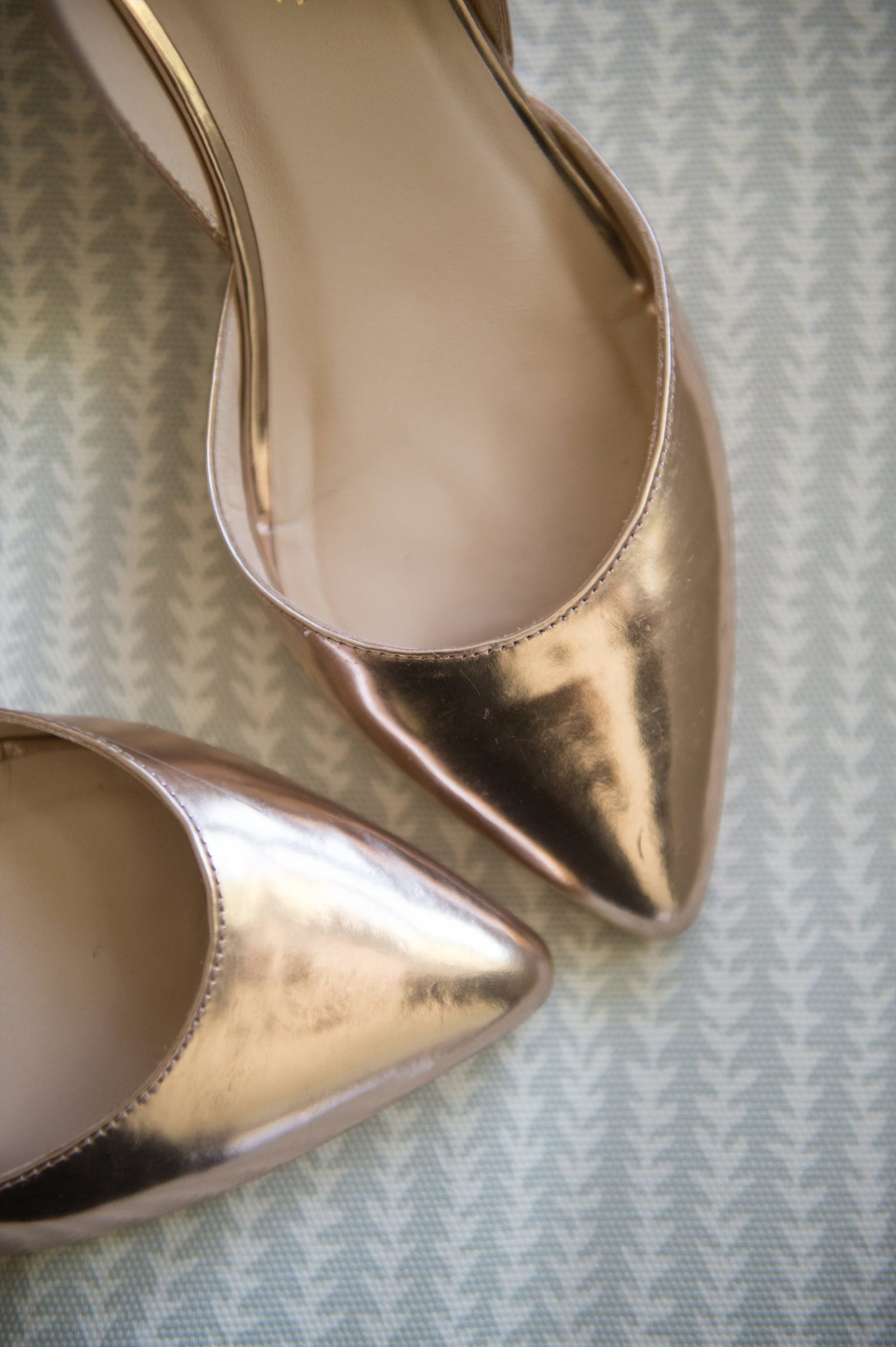 Gold flat wedding day shoes for home wedding in CT