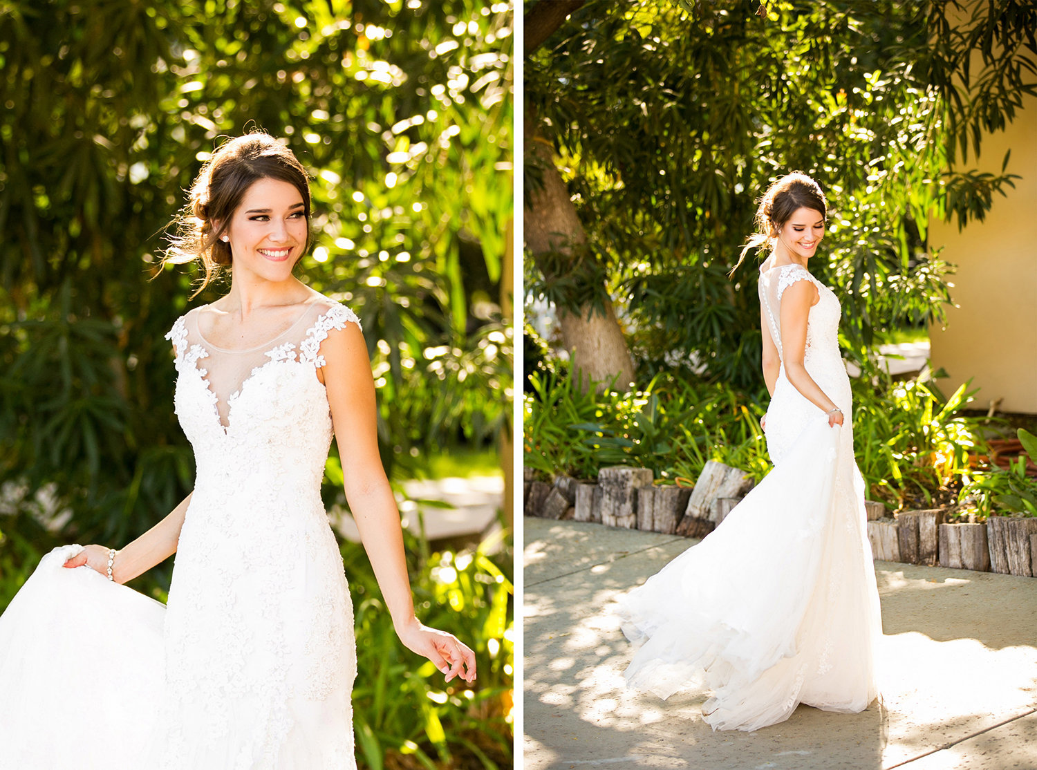 Beautiful Bride Twirling Around at Carlton Oaks Golf Course