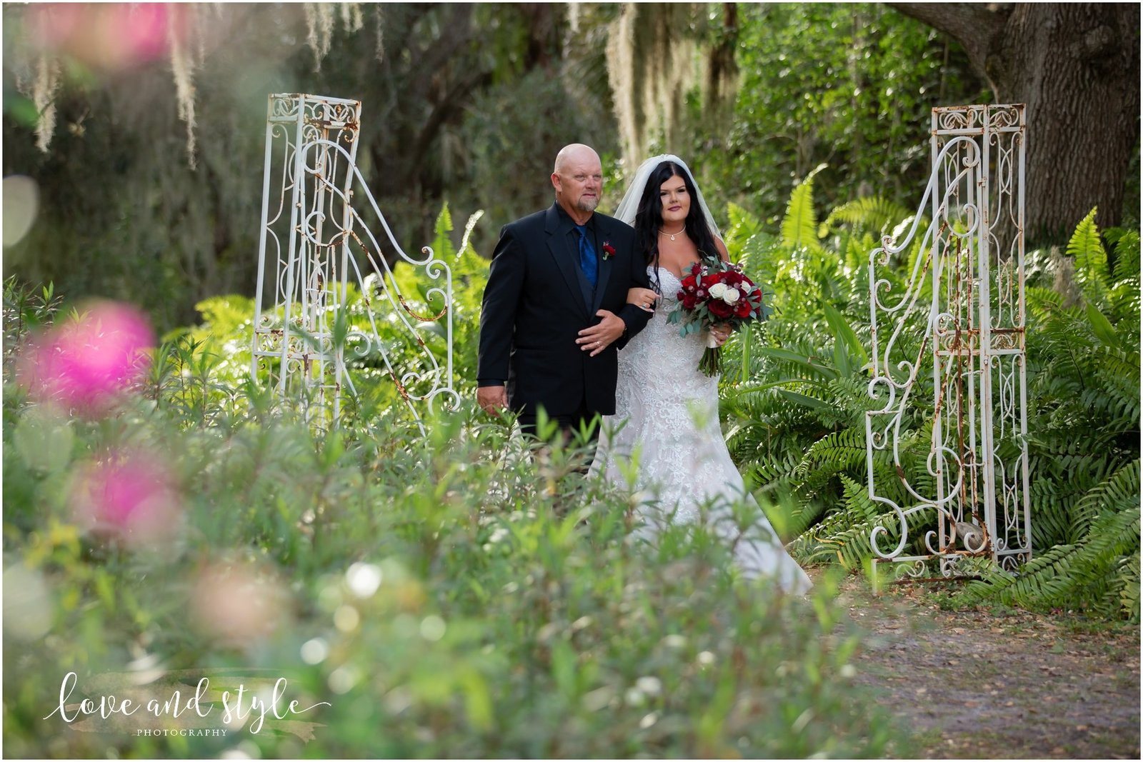 Bride walking down the aisle at The Barn at Chapel Creek, Sarasota Florida