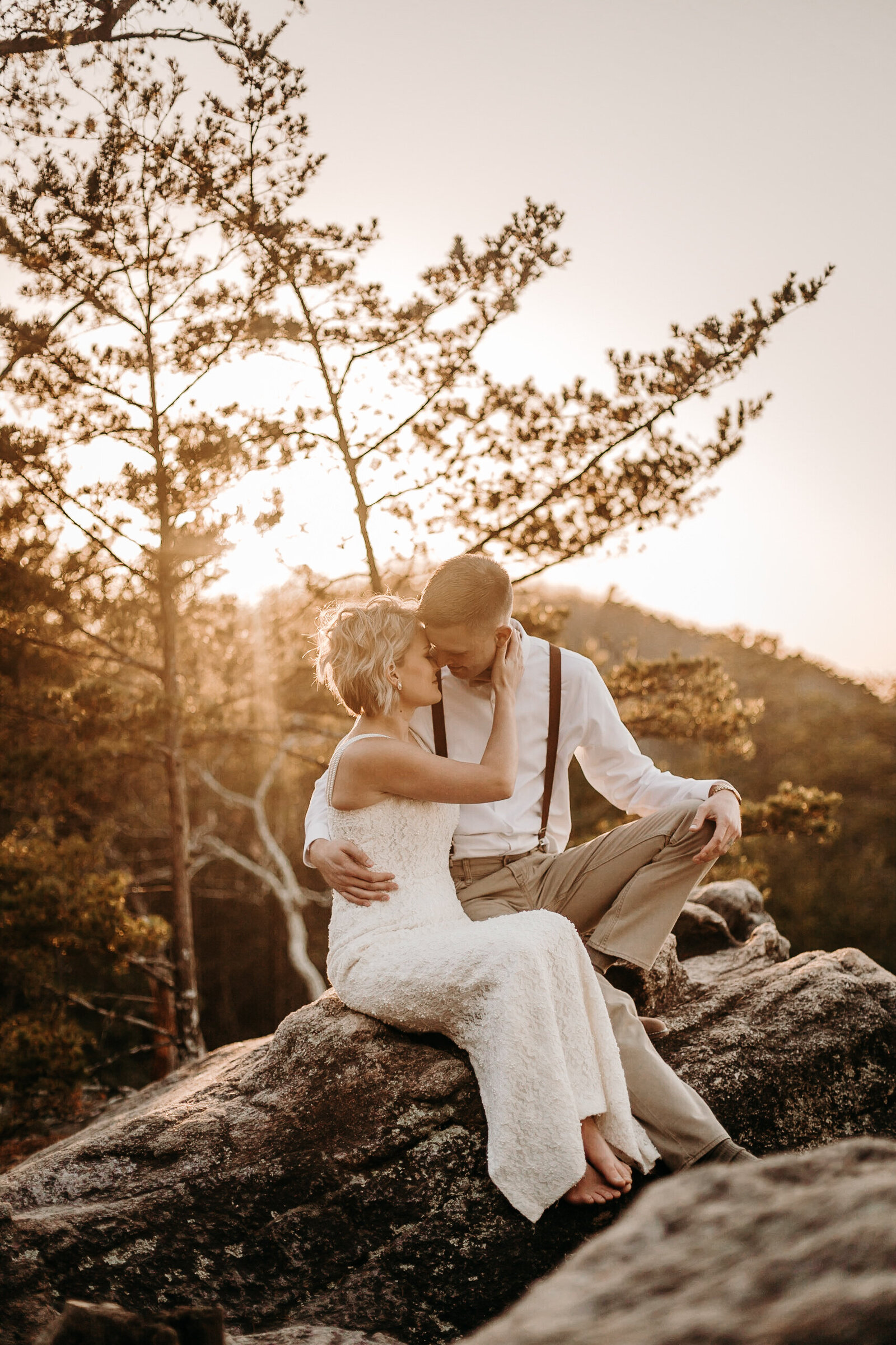 Bride and groom during their elopement on top of Sawnee Mountain in Cumming, Ga