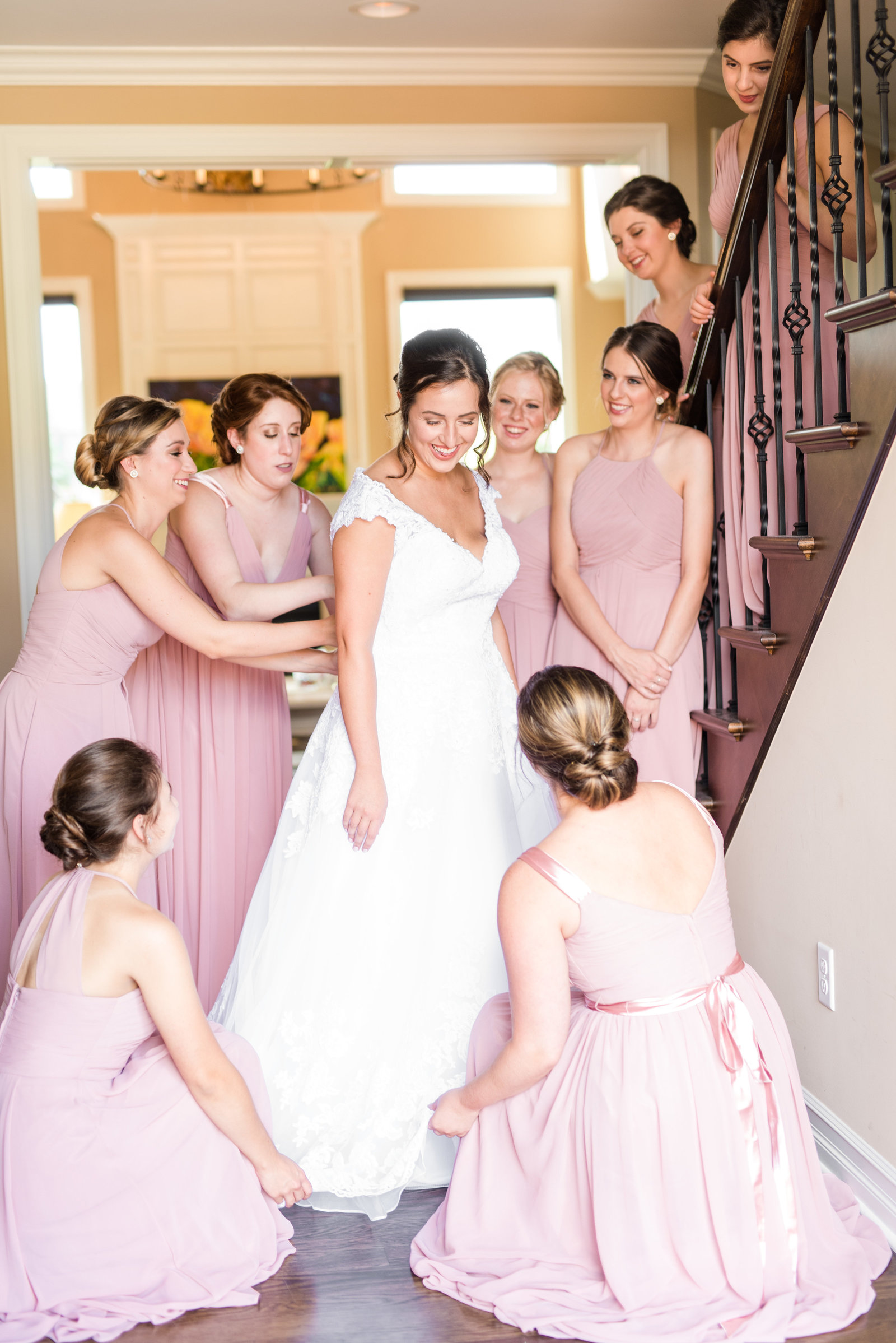 Bridesmaids and Bride Getting Ready Wedding Portraits Blush Pink Bridesmaids Dress