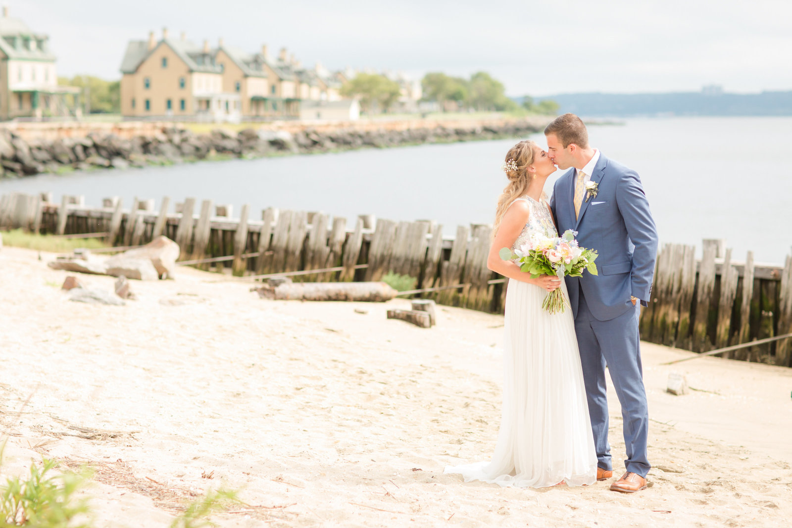 Bride and groom at Sandy Hook Chapel