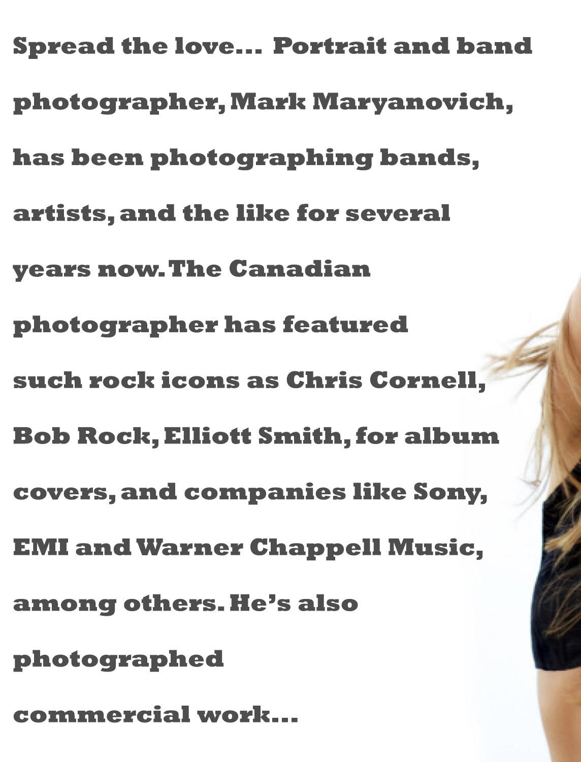 Los Angeles Photographer Mark Maryanovich interview publication Talent In Borders black text on white shoulder of female musician on right side of frame page 3