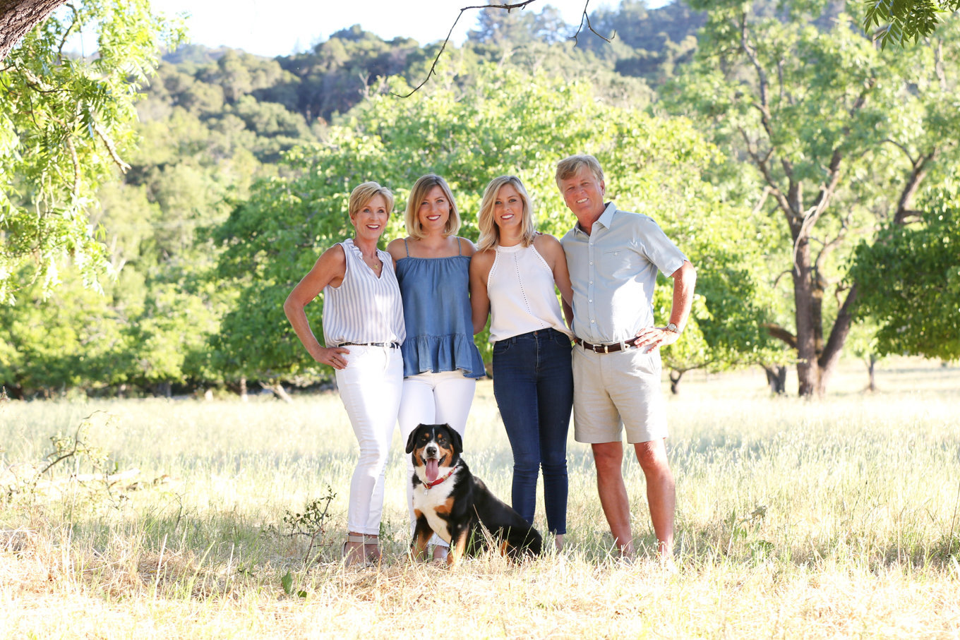 Outdoor family portraits with dog