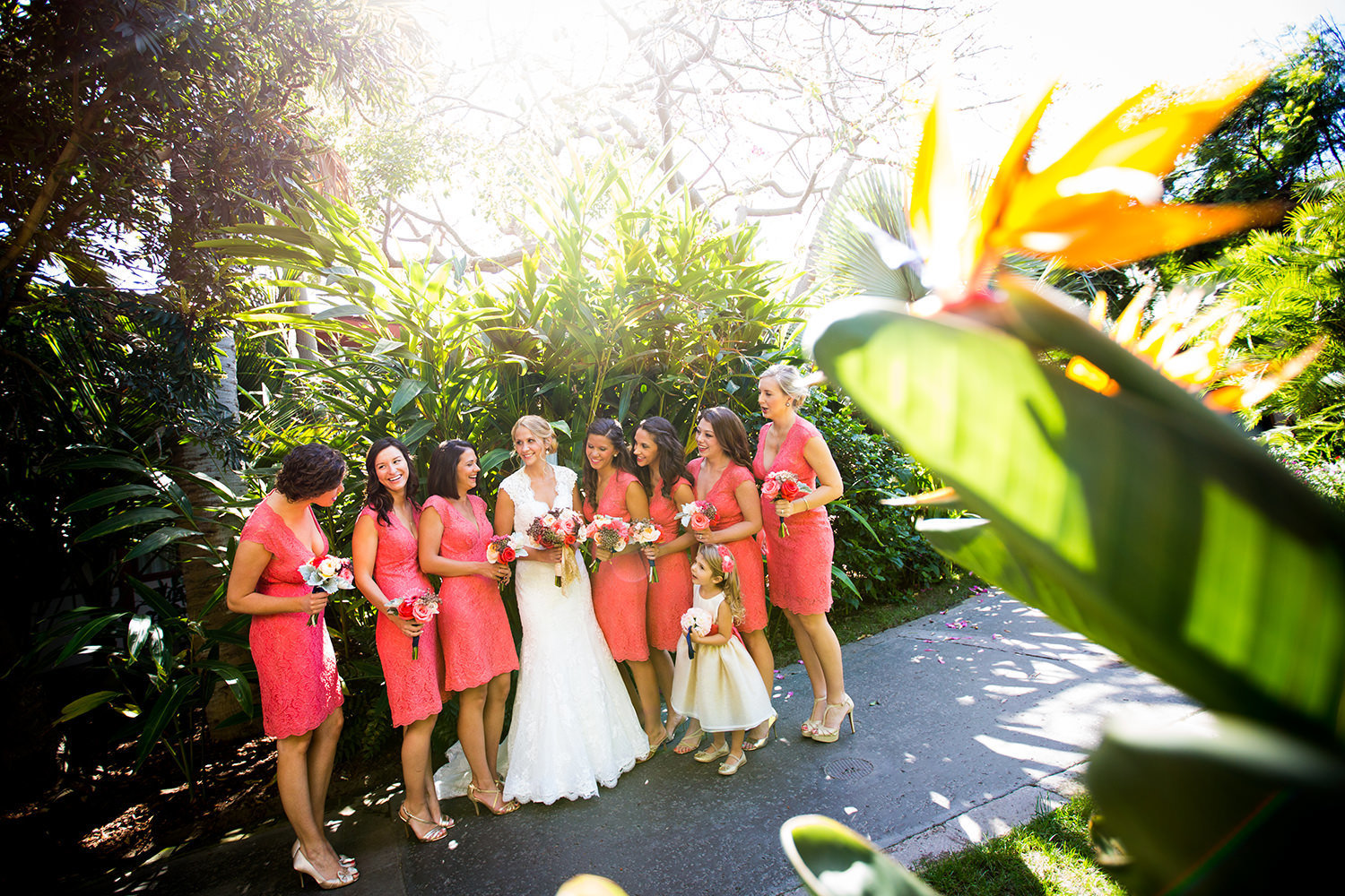 tropical shot with bridesmaids