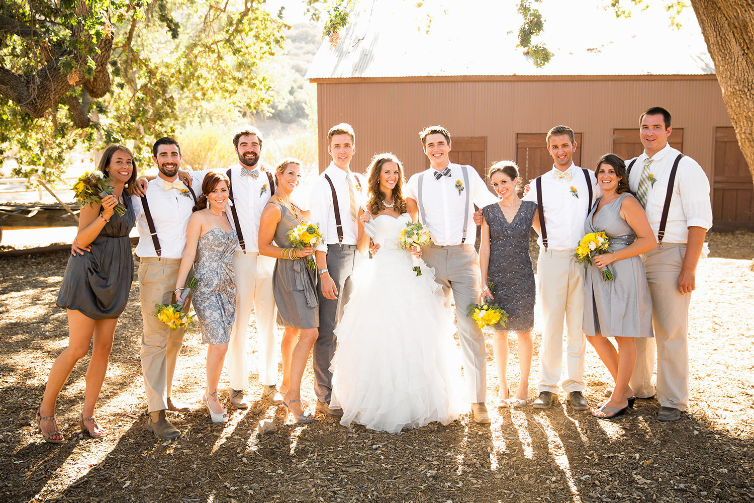 Destination wedding photos rustic bridal party