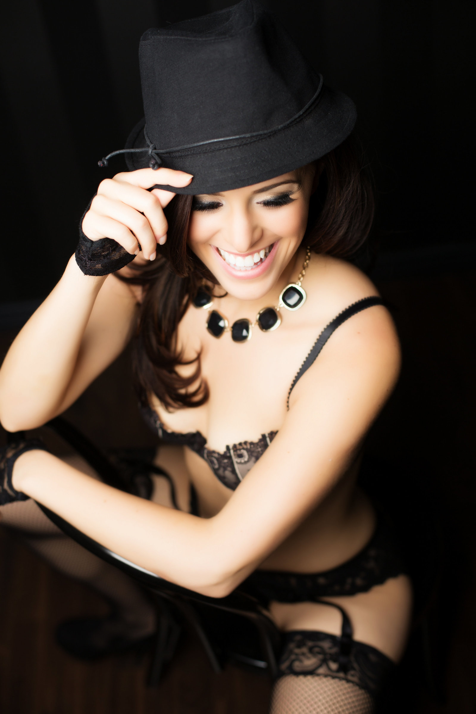black hat boudoir, brunette boudoir photo
