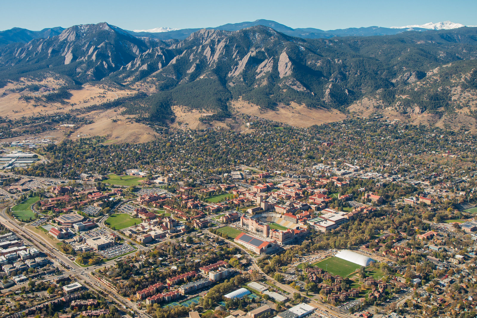 CU Boulder Aerial Photo Flatirons