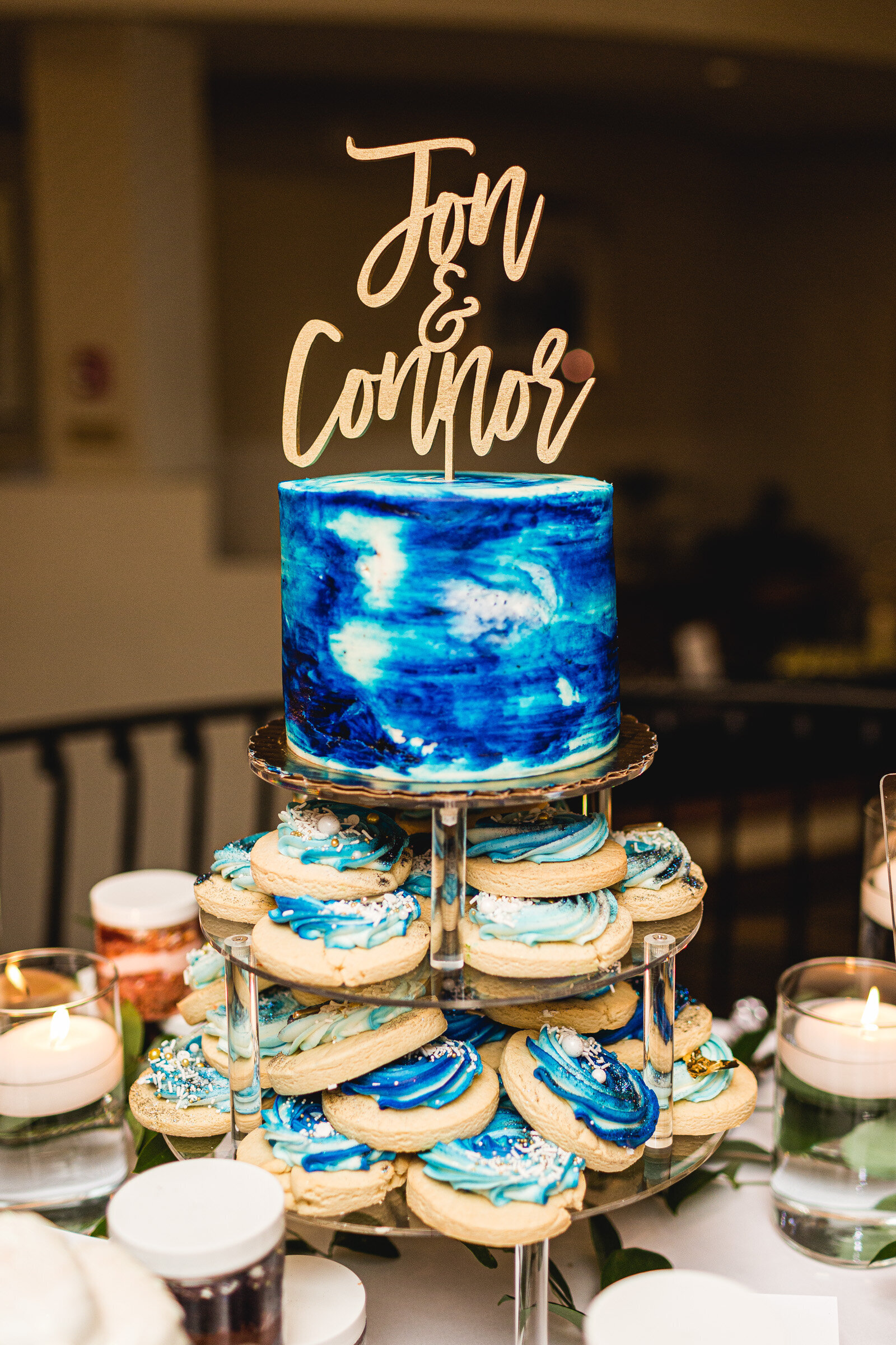 beautiful cake and cookie display at wedding corazon ohio