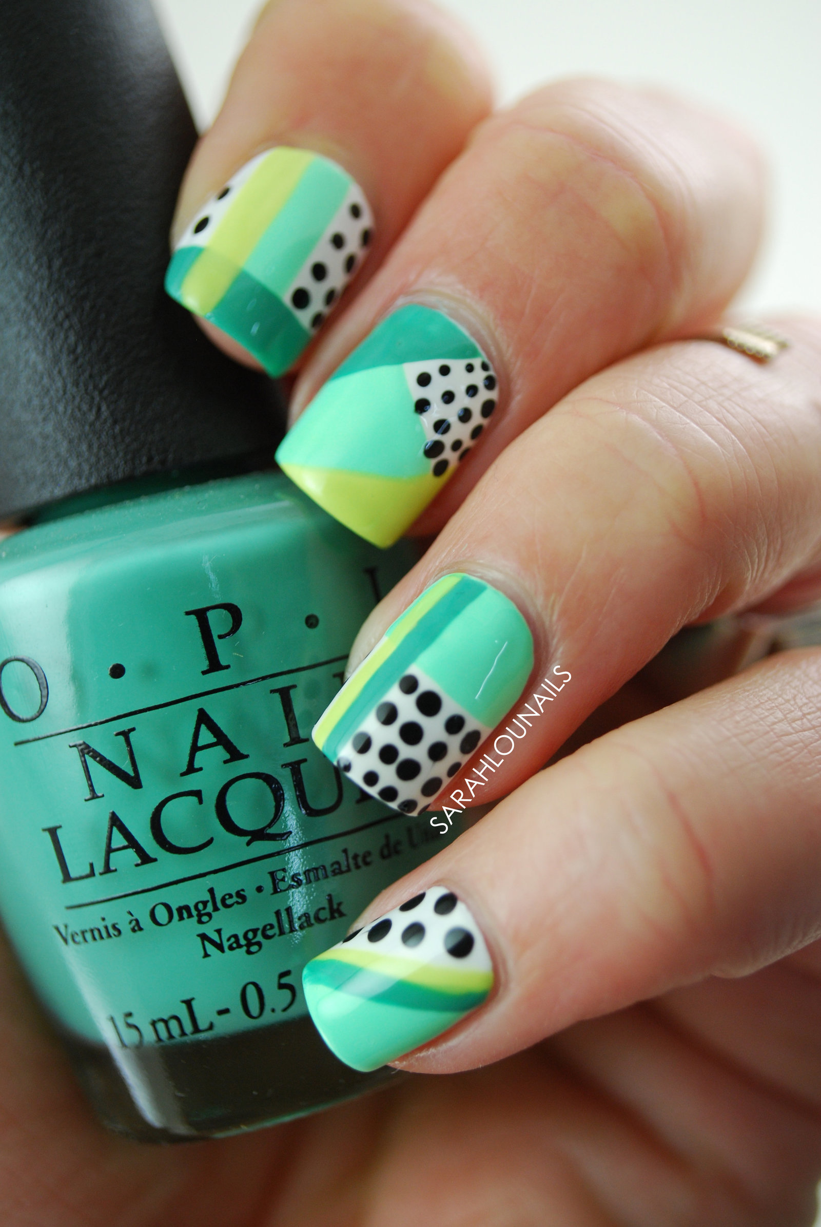 Mint Geometric Nails 5