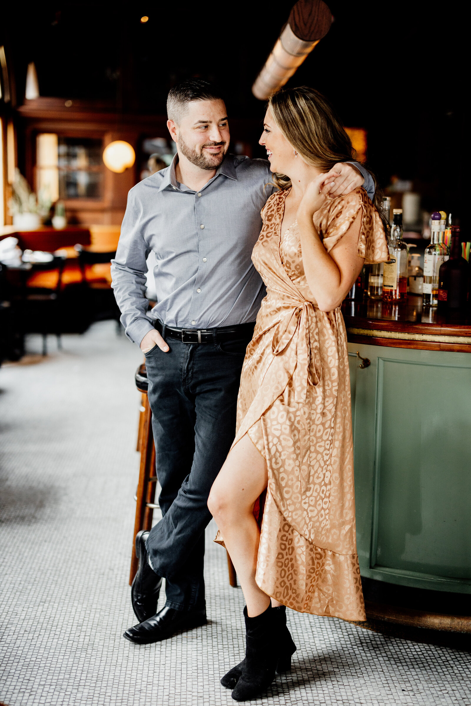 couple in city wine bar