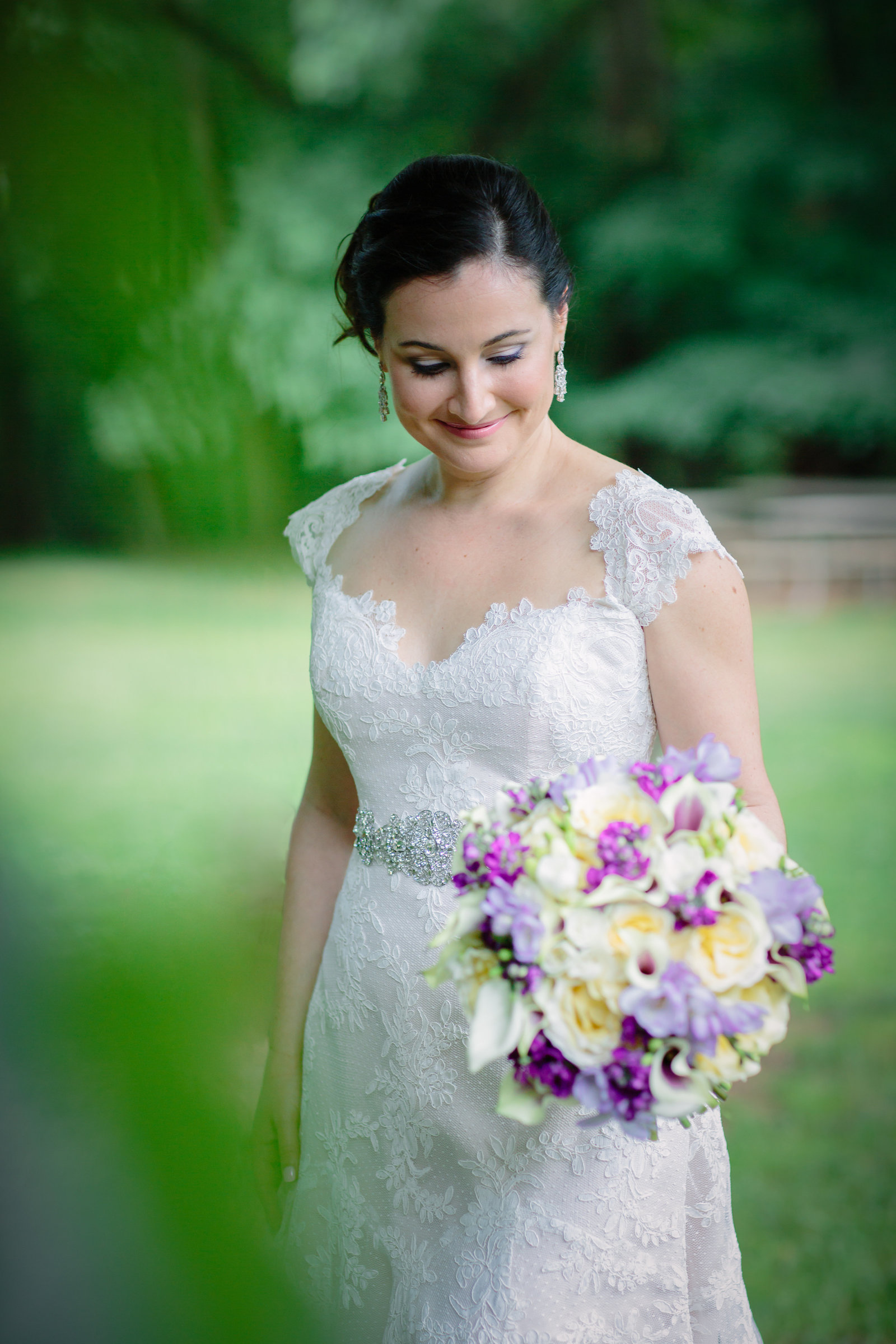 Lace Dress with purple flowers bride portrait