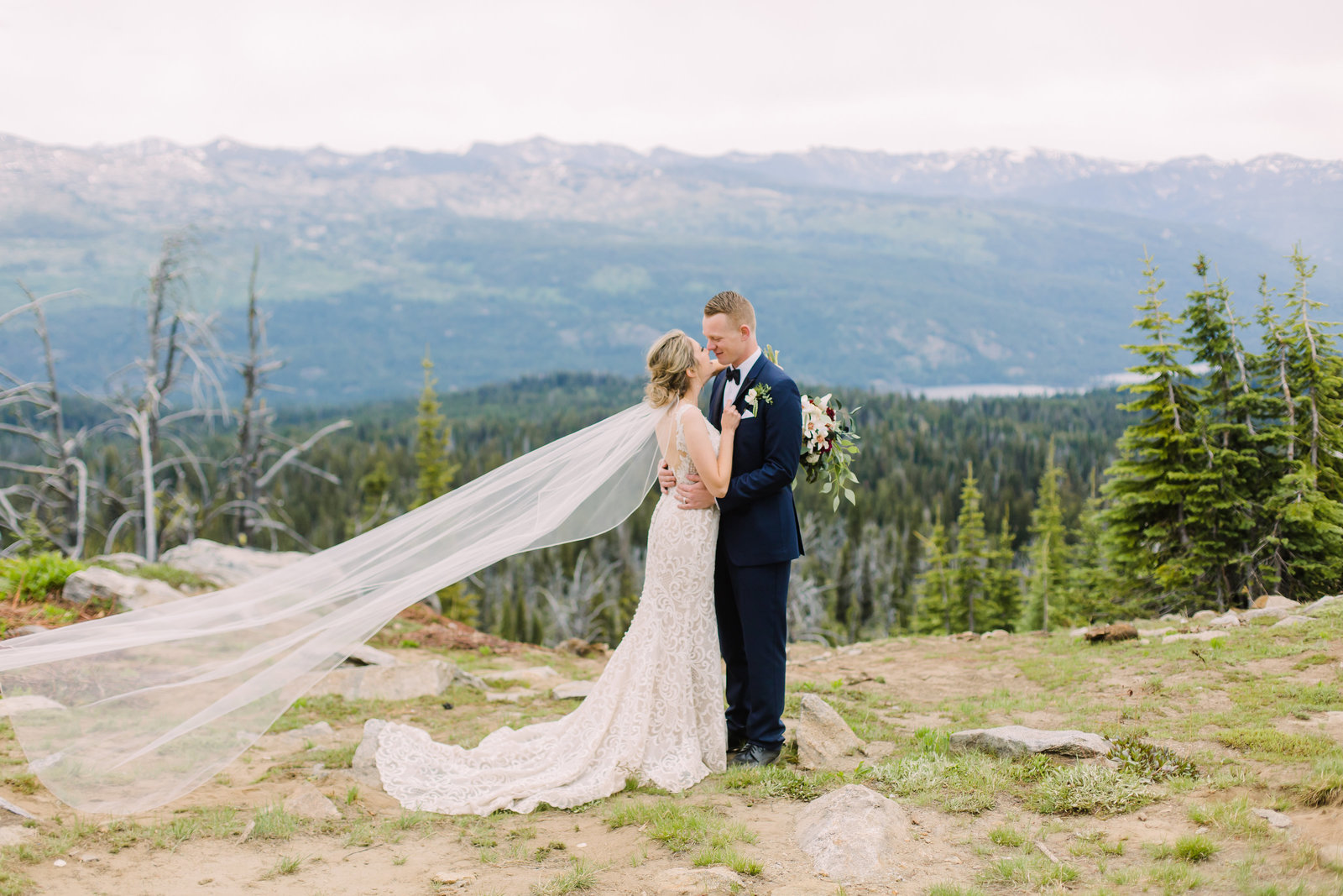 Bride and Groom atop Brundage Mountain in McCall, Idaho during their wedding photography experience.