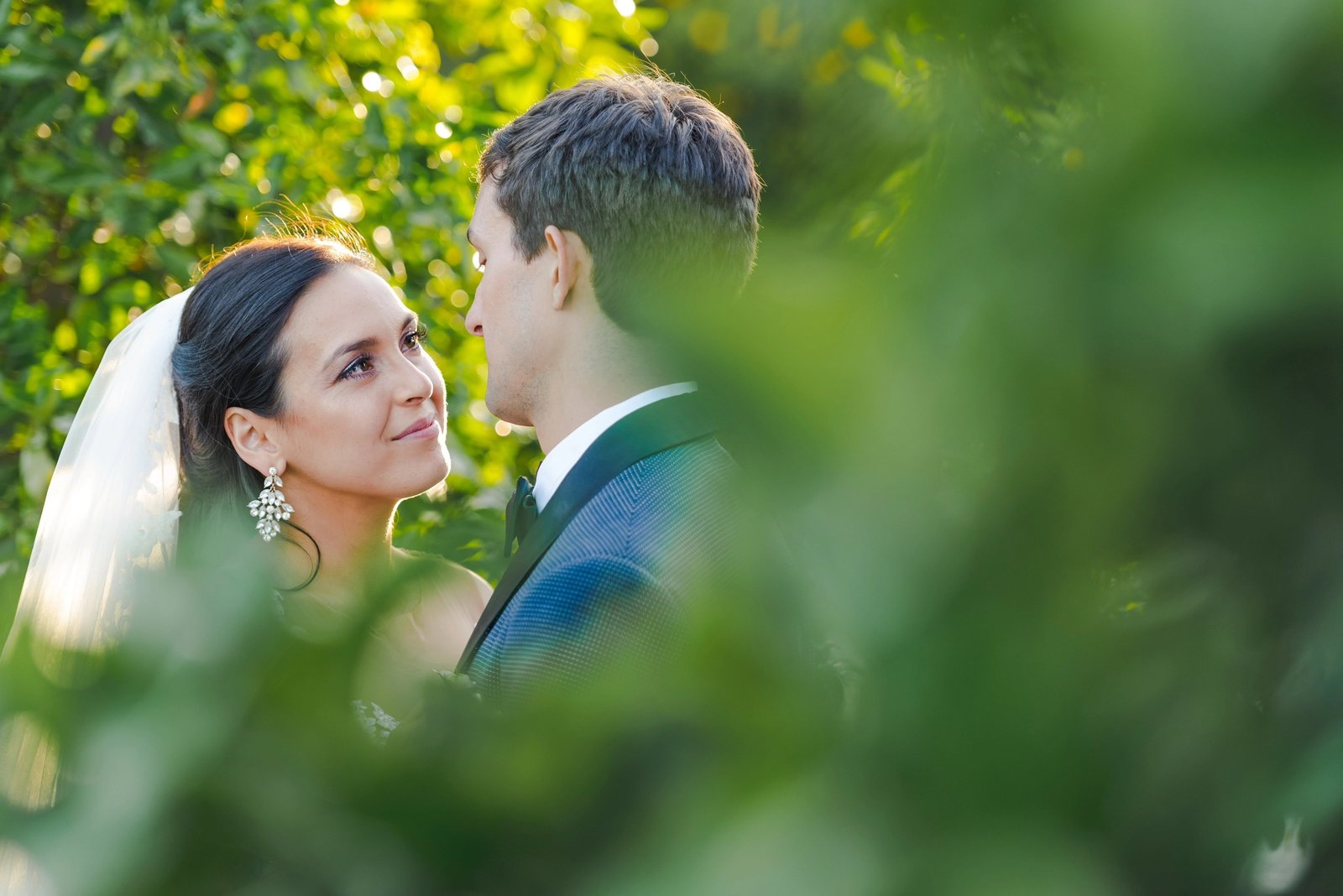 romantic wedding photos of bride and groom in the newhall mansion orchards