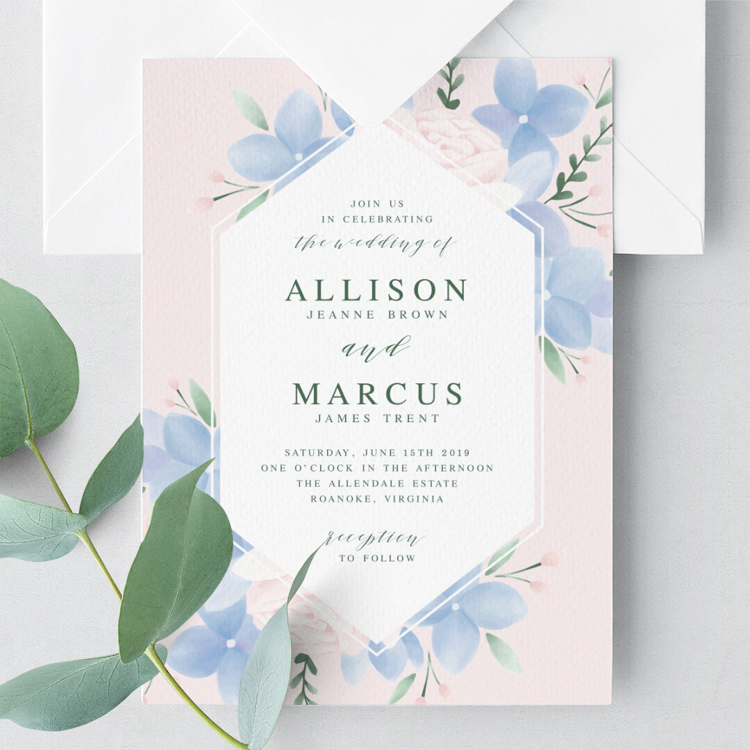 Blush pink and dusty blue wedding invitation