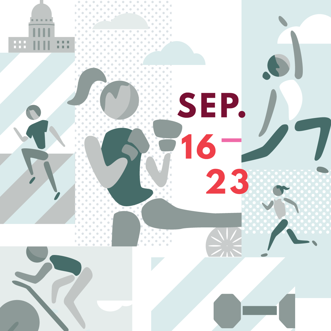 Social media instagram graphic for Madison Fitness Week by Christie Evenson, graphic designer and illustrator