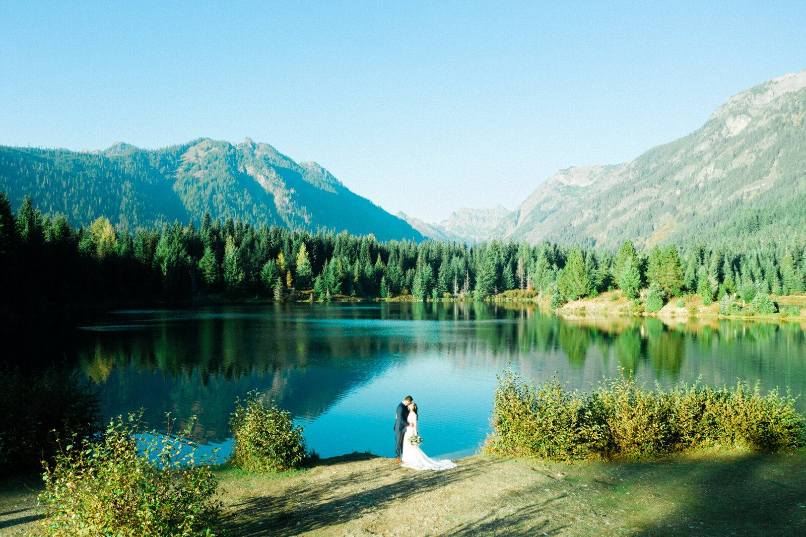 Drone photo of gold creek pond, top choice for engagement photos in seattle