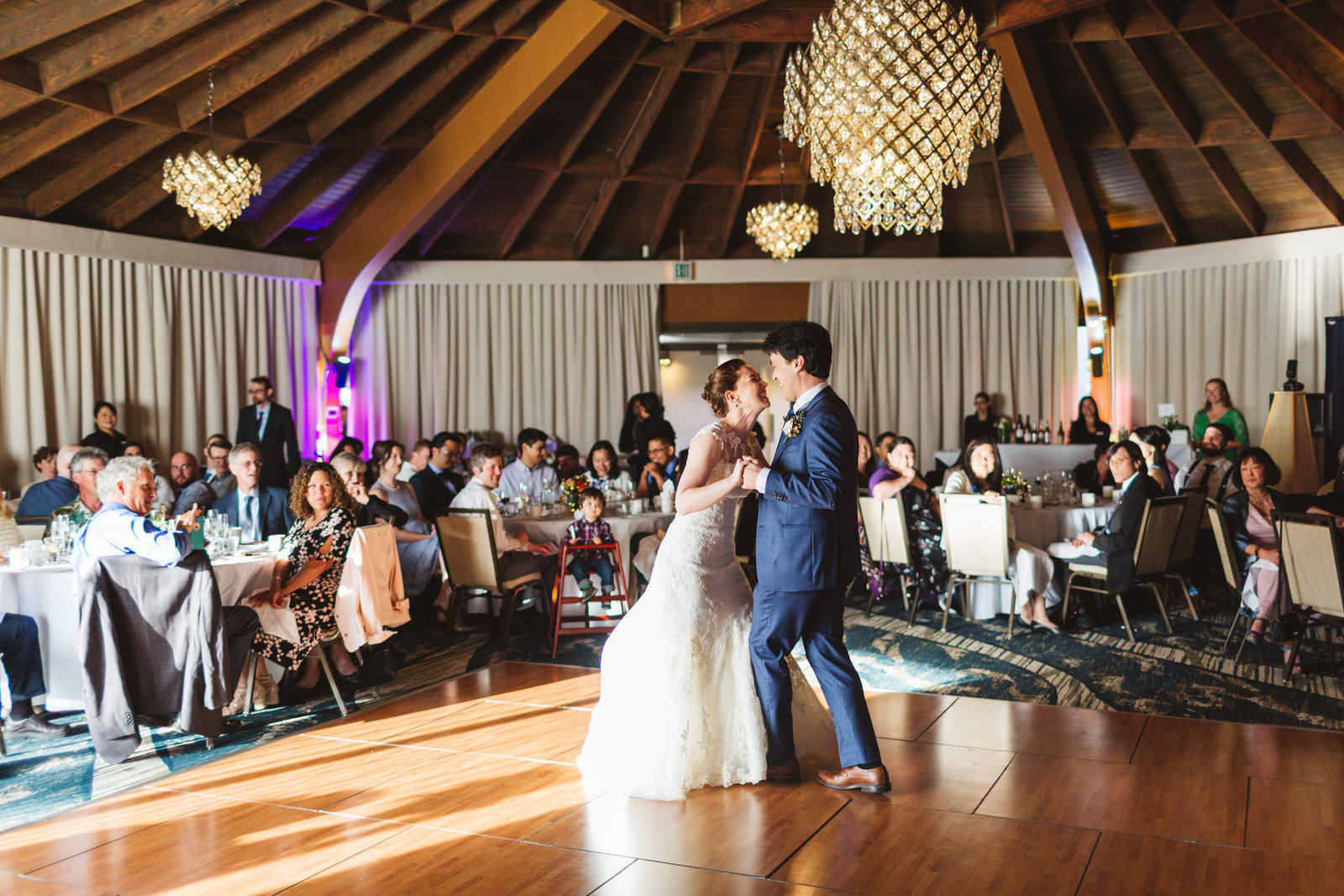berkeley wedding couple's first dance as guests look on