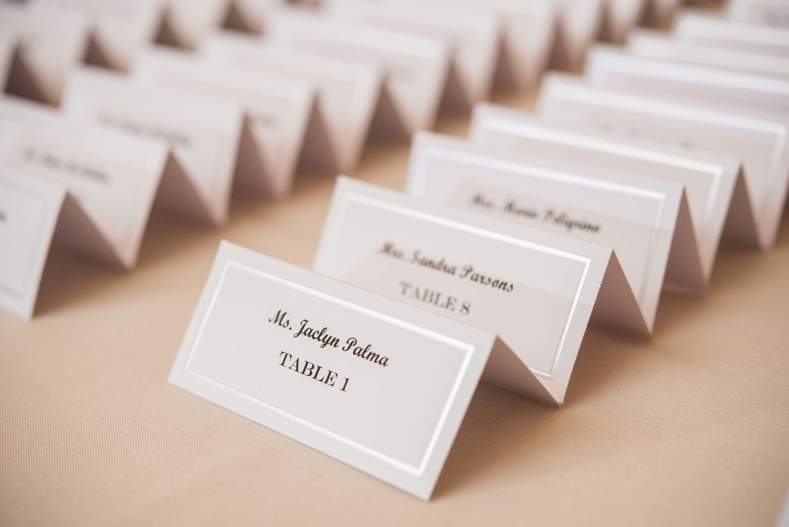 place cards from Coindre Hall wedding