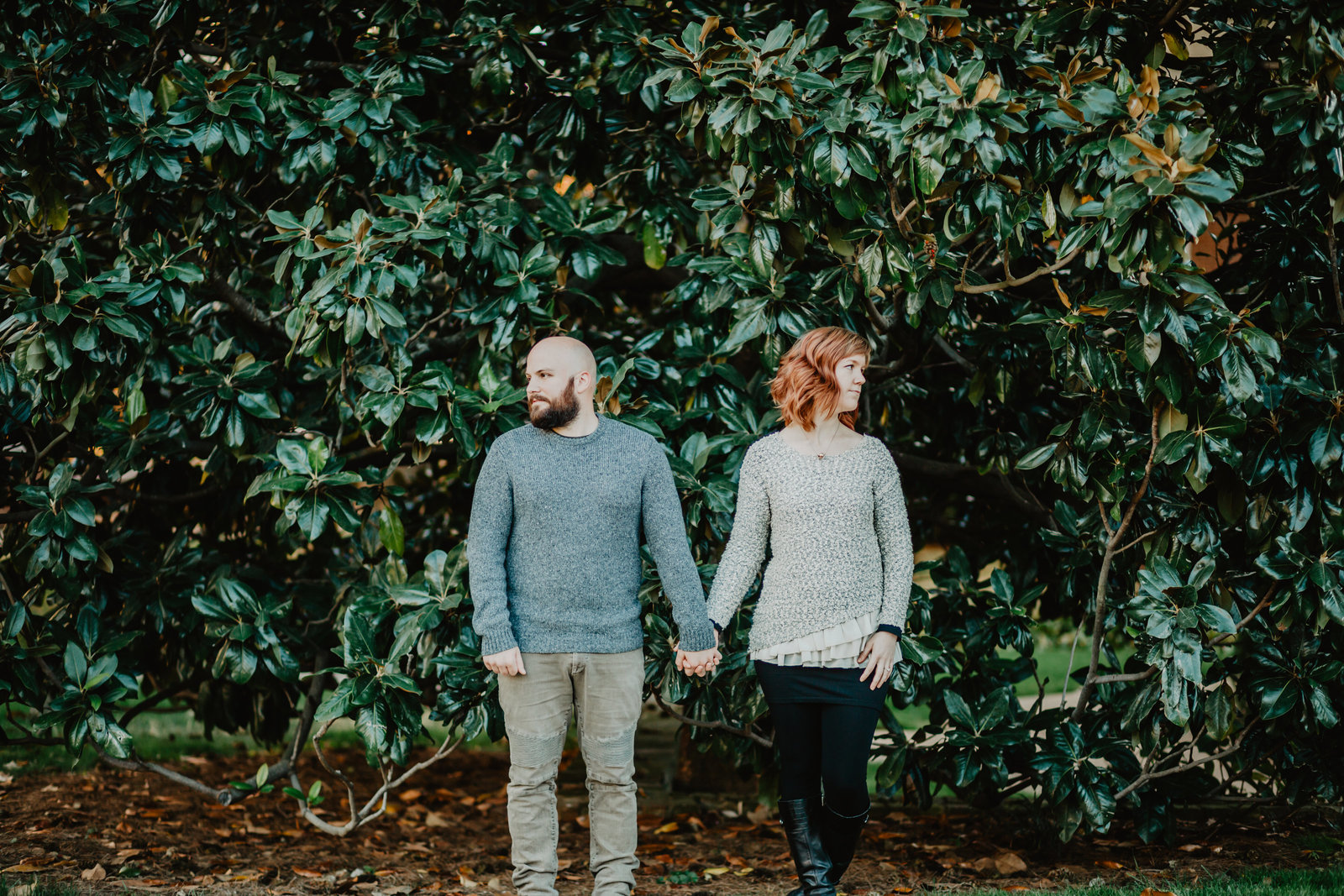Holding hand and looking away from each other in front of the magnolia trees on Belmont University