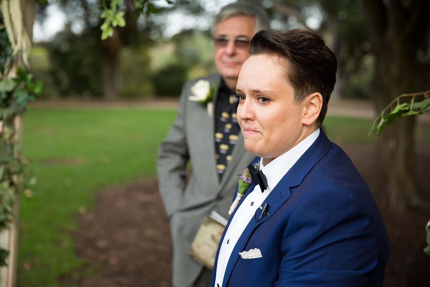 Can't help but react when you see your bride coming down the aisle | LGBT wedding ceremony