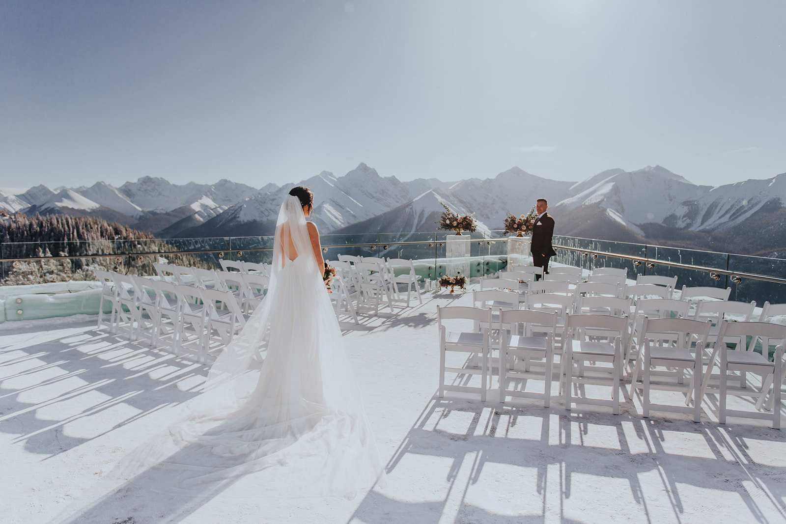 Ceremony at top of Banff Gondola at Sulphur Mountain