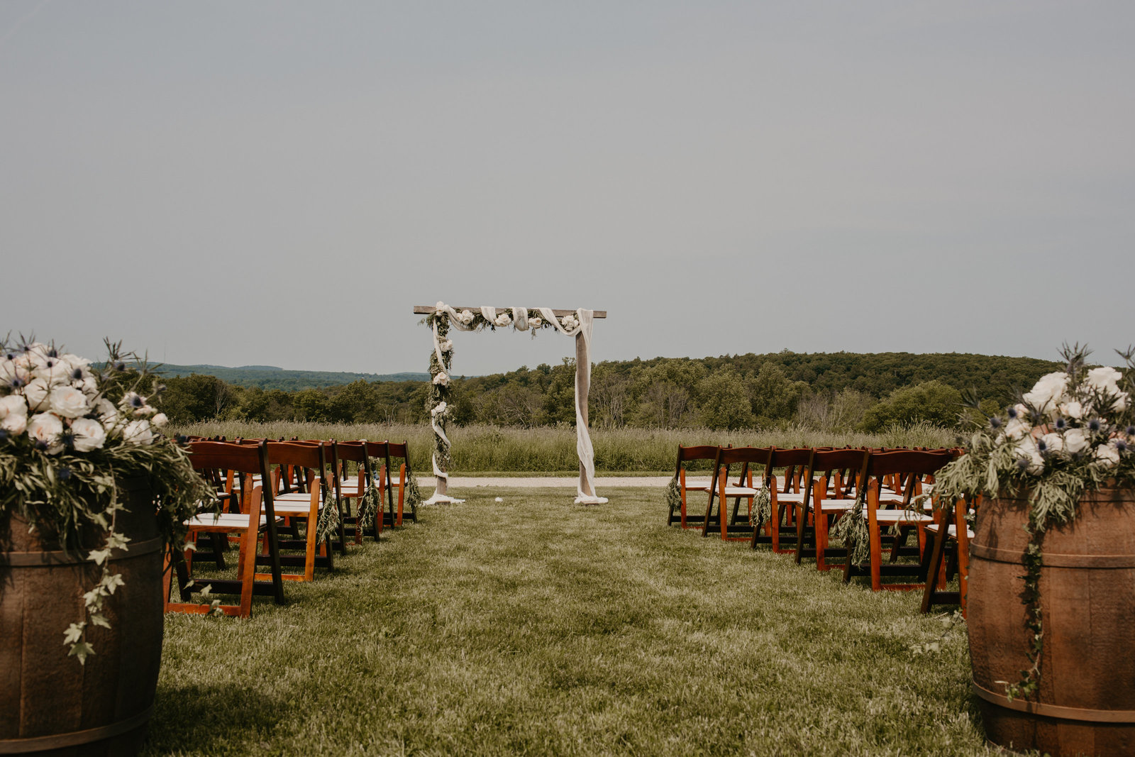 Ceremony space at a Connecticut wedding.