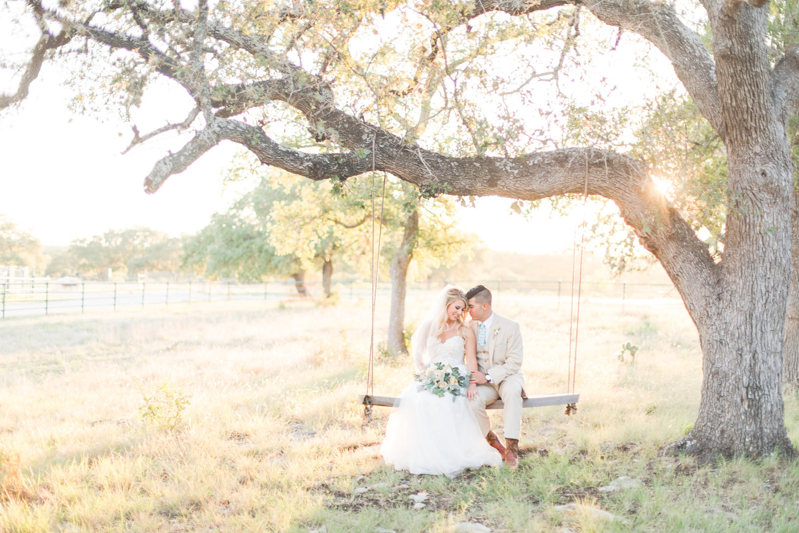 Bride and groom sitting in a tree swing at sunset at CW Hill Country Ranch