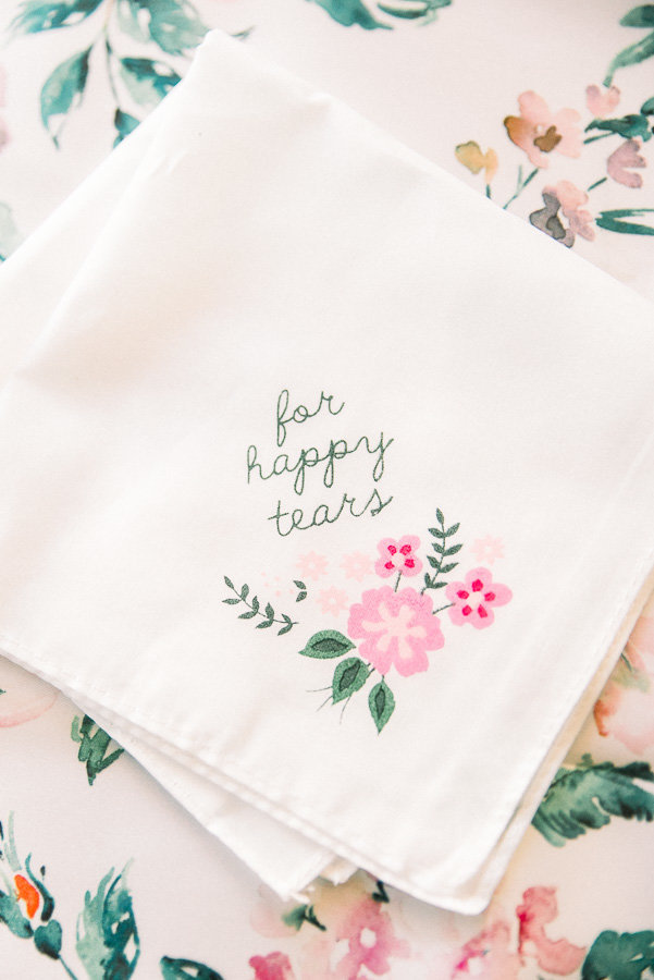 Agua Linda Farms Wedding Detail Photo of Father's Handkerchief That Reads For Happy Tears | Tucson Wedding Photographer | West End Photography