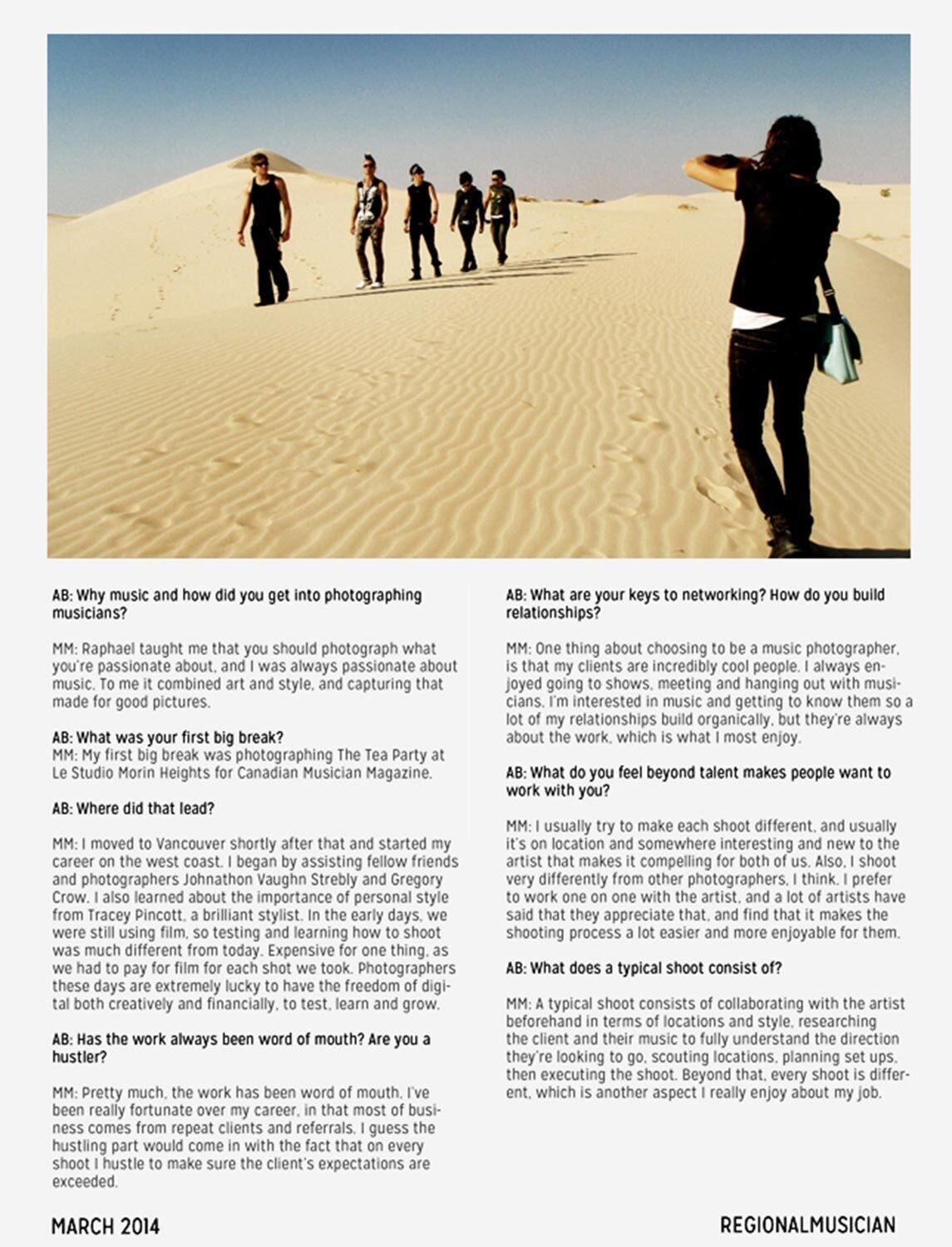 Regional Musician Magazine Interview featuring Mark Maryanovich Page 2 behind the scenes Mark photographing band walking in desert