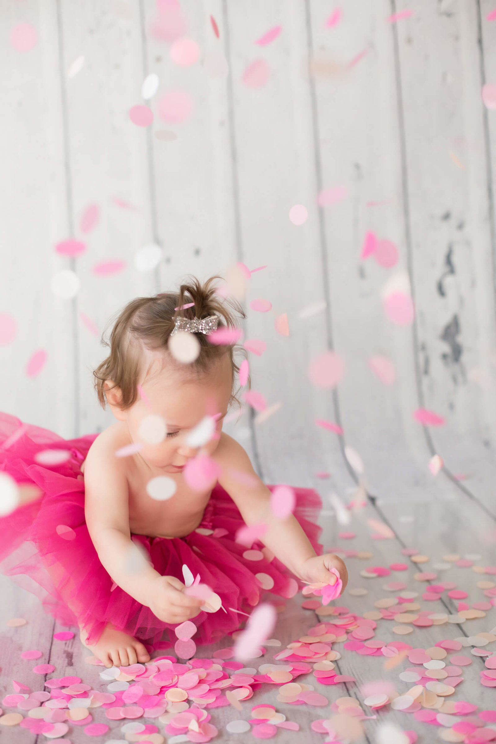 Pink Confetti Girl Birthday Photography