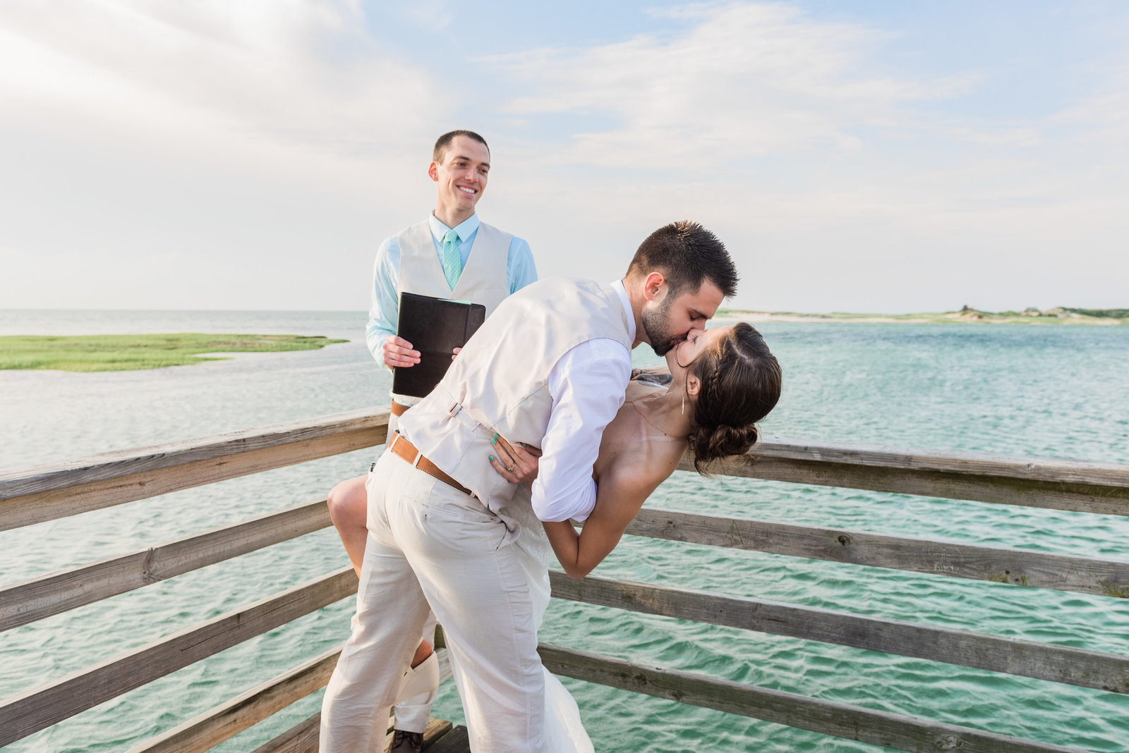 Bass hole boardwalk wedding photos in Yarmouth, MA on Cape Cod