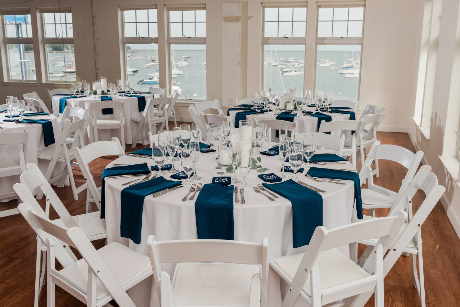 nautical reception decor at Duxbury Bay Maritime School wedding