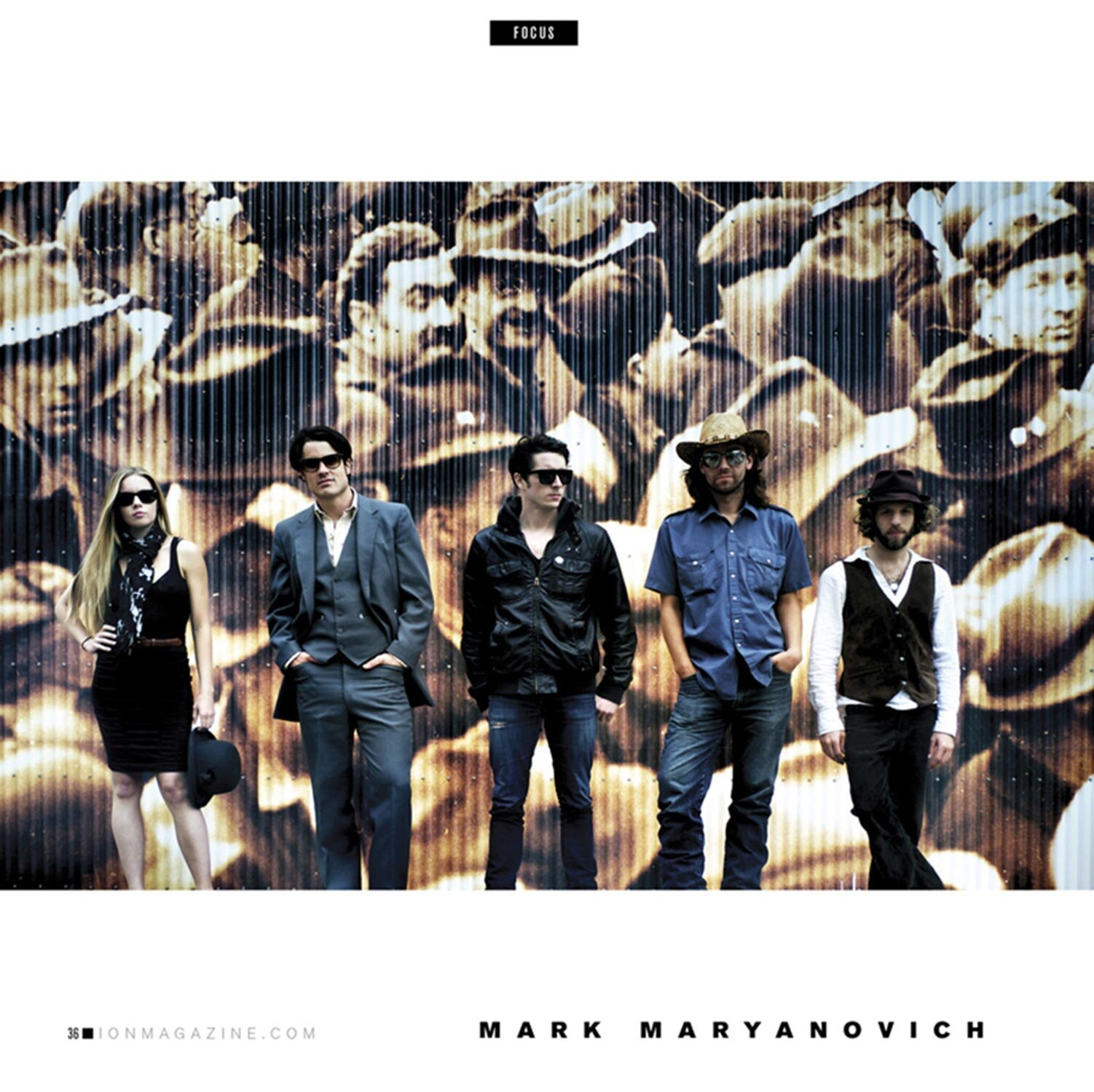 LA Photographer Mark Maryanovich magazine article featuring band portrait five members standing against wall mural of people wearing hats Publication ION page 8