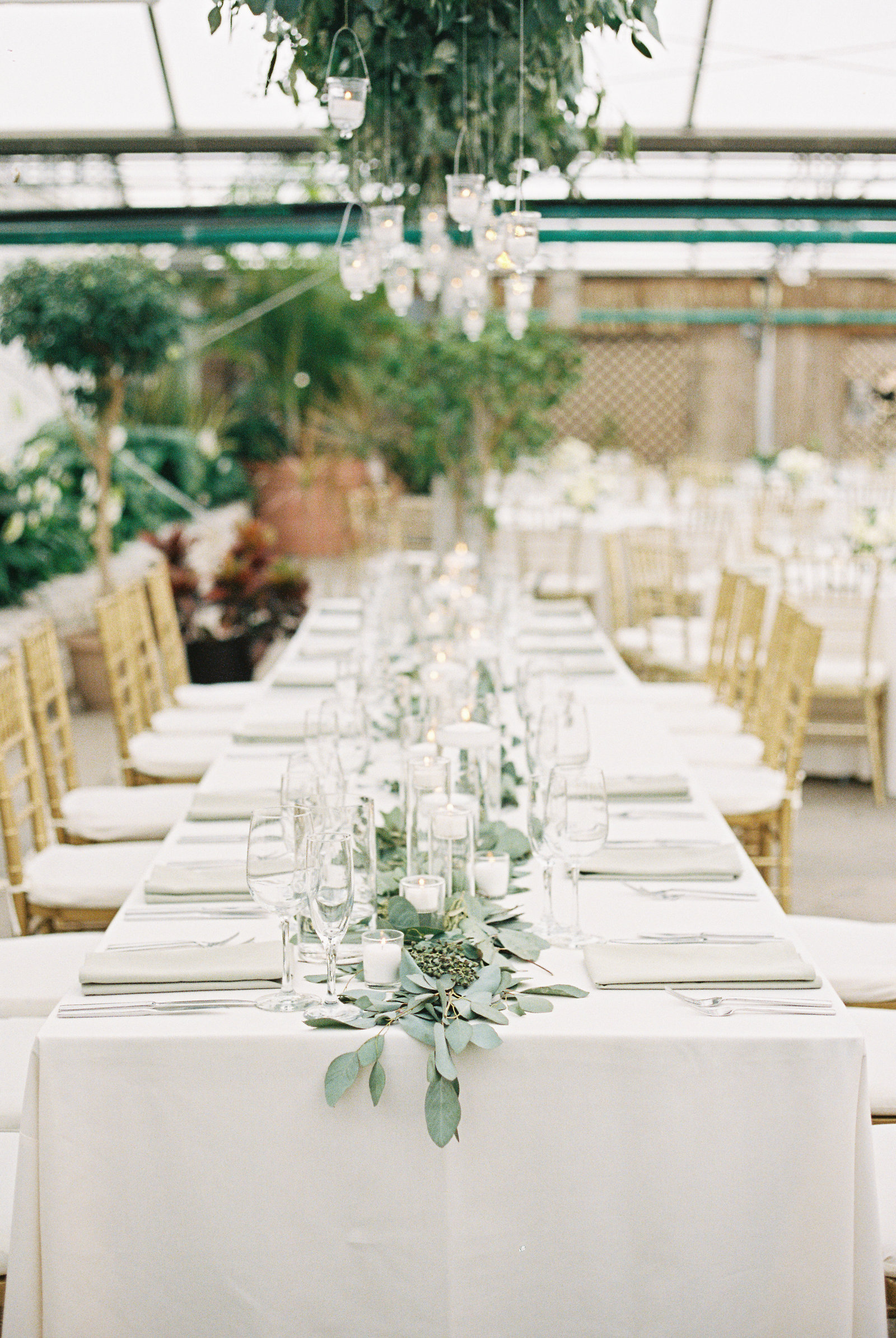 White and green spring wedding at the Horticultural Center in Philadelphia