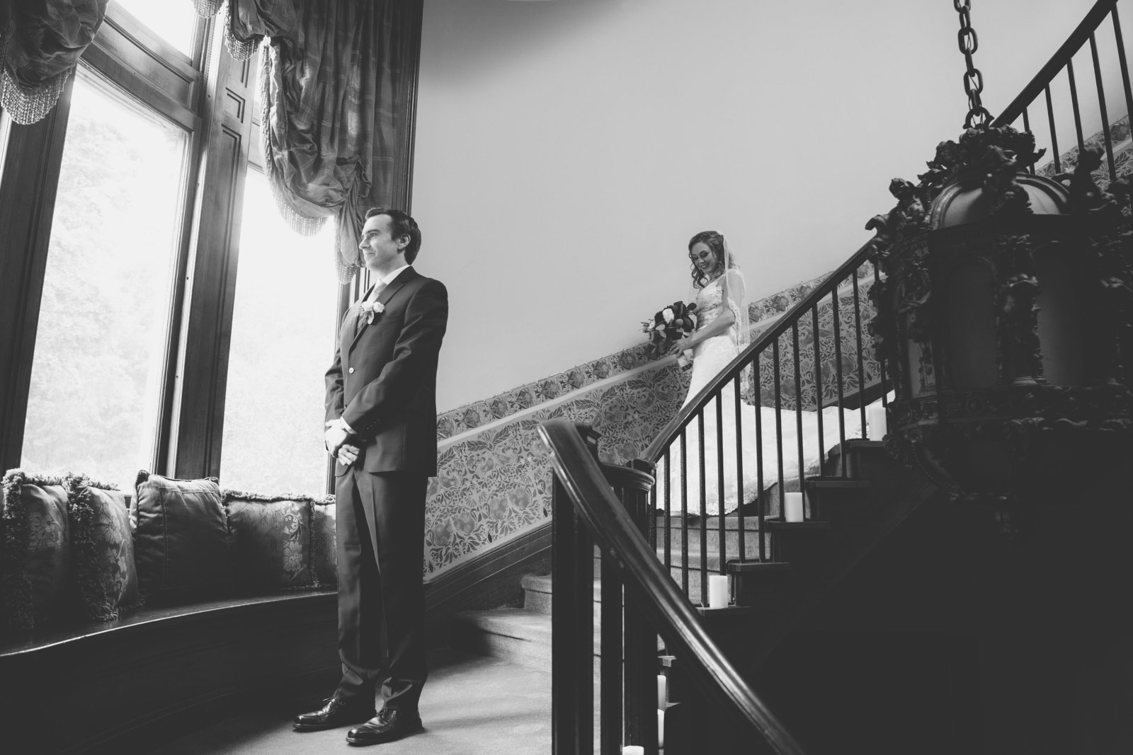 black and white first look bride and groom photo at Coindre Hall