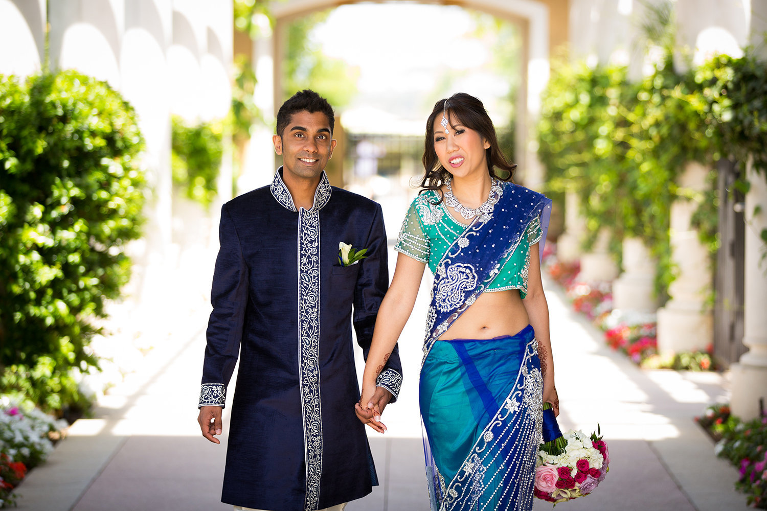 Bright Blue and Green Sari at a Hindu Wedding