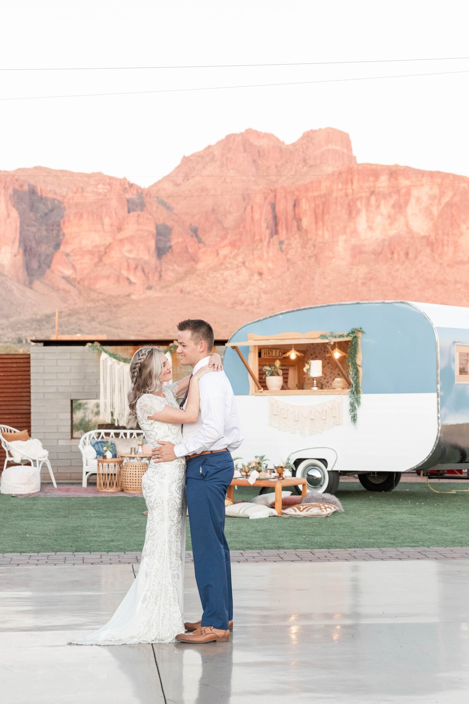 first-dance-with-trailer-infront-of-superstition-mountains
