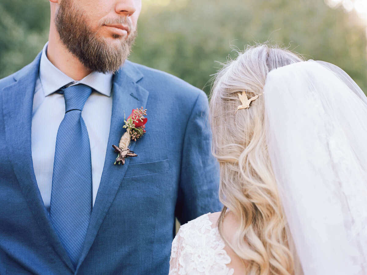 Humingbird pin details on SoCal bride and groom captured by Katherine Rose Photography Sothern California